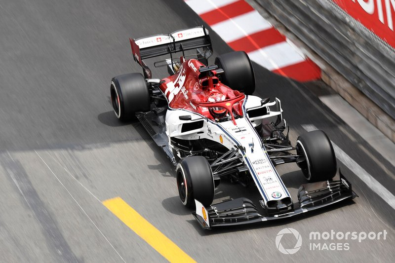 Raikkonen was impeded in practice by a Force...Racing Point car