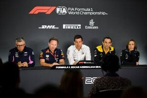 Otmar Szafnauer, Team Principal and CEO, Racing Point, Christian Horner, Team Principal, Red Bull Racing, Toto Wolff, Executive Director (Business), Mercedes AMG, Cyril Abiteboul, Managing Director, Renault F1 Team and Claire Williams, Deputy Team Principal, Williams Racing In the Press Conference