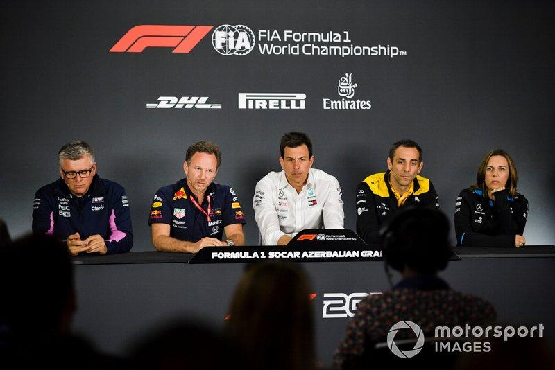 Otmar Szafnauer, directeur et PDG, Racing Point, Christian Horner, directeur, Red Bull Racing, Toto Wolff, directeur sportif, Mercedes AMG, Cyril Abiteboul, directeur, Renault F1 Team et Claire Williams, directrice adjointe, Williams Racing en conférence de presse