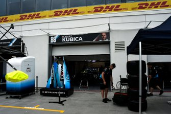The Williams team's pit area