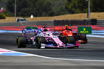 Sergio Perez, Racing Point RP19, leads Charles Leclerc, Ferrari SF90