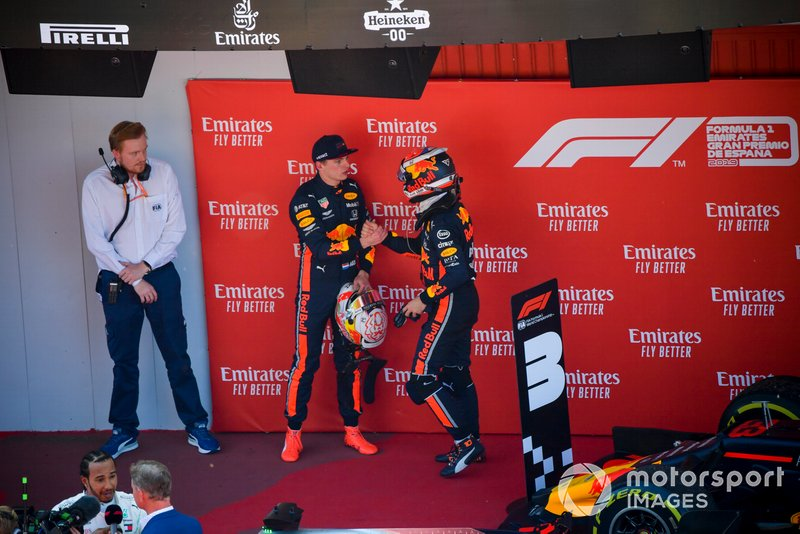 Pierre Gasly, Red Bull Racing, congratulates his team mate Max Verstappen, Red Bull Racing, 3rd position, in Parc Ferme