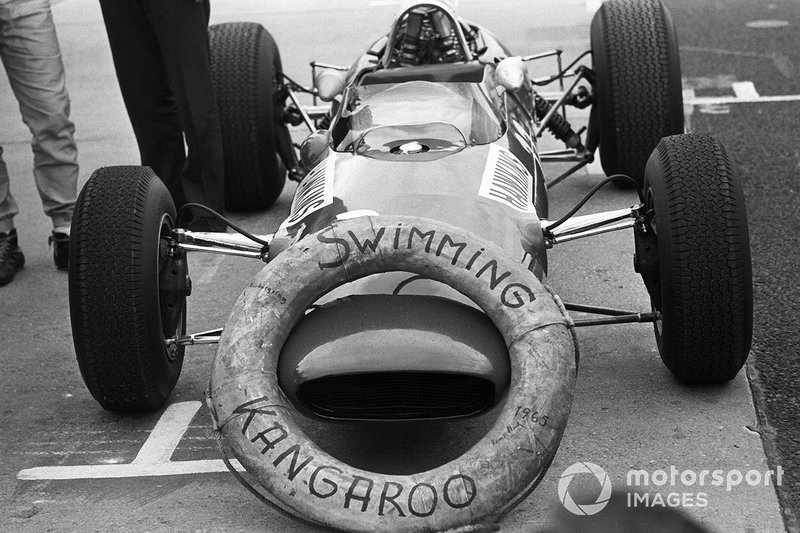 """Car of the Australian """"Swimming Kangaroo"""" Paul Hawkins who is being made fun of by his colleagues because of his harbor bath by accident in Monaco"""