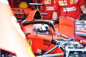 Sebastian Vettel, Ferrari SF90 in his cockpit