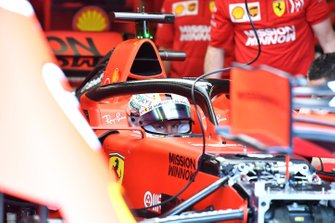 Sebastian Vettel, Ferrari SF90 in his cockpit