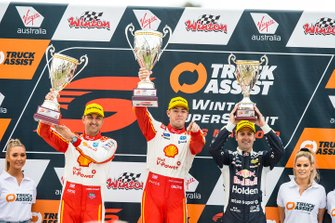 Podium: race winner Scott McLaughlin, DJR Team Penske Ford, second place Fabian Coulthard, DJR Team Penske Ford, third place Jamie Whincup, Triple Eight Race Engineering Holden