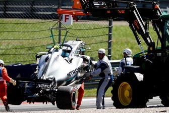Car of Valtteri Bottas, Mercedes AMG W10 being recovered after crash