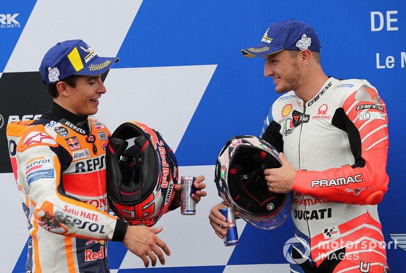 Ganador de la pole Marc Márquez, Repsol Honda Team, tercero Jack Miller, Pramac Racing