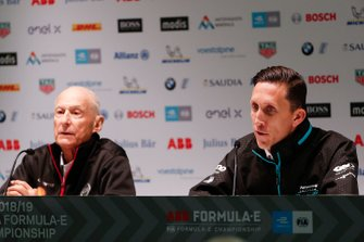 Michael Carcamo, Nissan e.Dams, James Barclay, Team Director, Panasonic Jaguar Racing, in de persconferentie