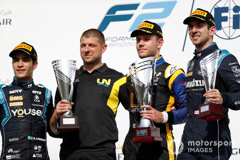 Sergio Sette Camara, DAMS, Luca Ghiotto, UNI VIRTUOSI, and Nicholas Latifi, DAMS, ceebrate on the podium
