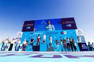 Sam Bird, Envision Virgin Racing, 1st position, Pascal Wehrlein, Mahindra Racing, 2nd position, Daniel Abt, Audi Sport ABT Schaeffler, 3rd position, Leon Price, Team, Sporting manager, Envision Virgin Racing, on the podium