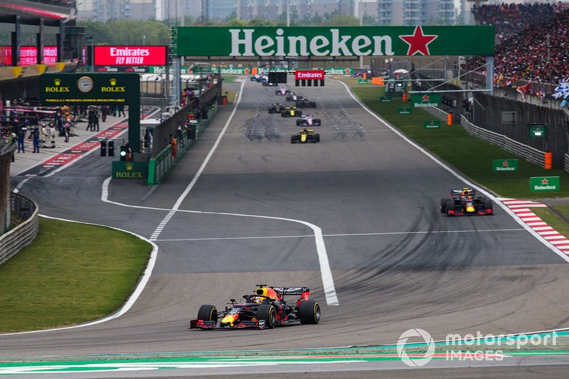 Max Verstappen, Red Bull Racing RB15, leads Pierre Gasly, Red Bull Racing RB15