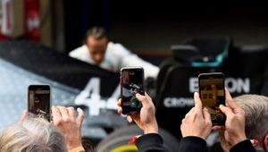 Photos are taken with phones as Lewis Hamilton, Mercedes AMG F1, 1st position, inspects his car in Parc Ferme