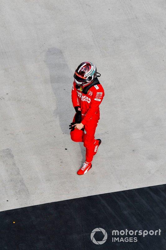Charles Leclerc, Ferrari, nel parco chiuso, dopo la gara