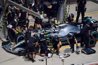 Valtteri Bottas, Mercedes AMG W10, makes a stop during practice