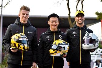 Nico Hulkenberg, Renault F1 Team, Guanyu Zhou and Daniel Ricciardo, Renault F1 Team