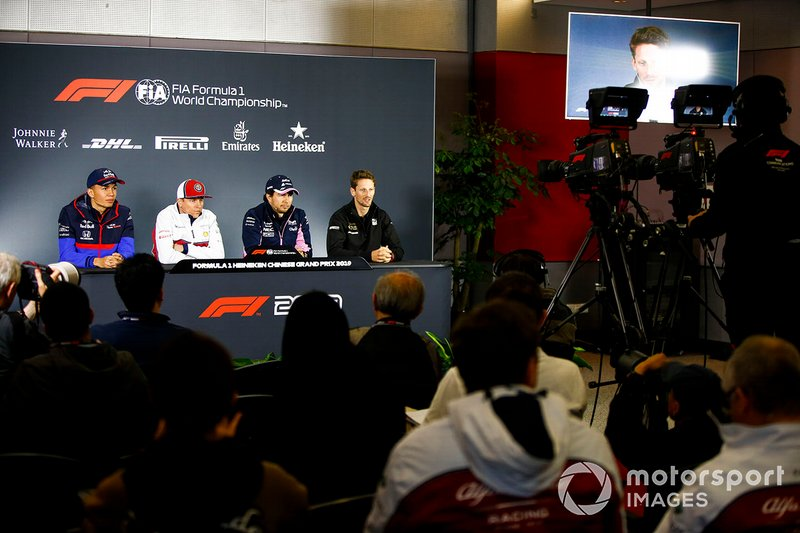 Alexander Albon, Toro Rosso, Kimi Raikkonen, Alfa Romeo Racing, Sergio Perez, Racing Point and Romain Grosjean, Haas F1 in Press Conference