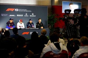 Alexander Albon, Toro Rosso, Kimi Raikkonen, Alfa Romeo Racing, Sergio Perez, Racing Point and Romain Grosjean, Haas F1 in Press Conference