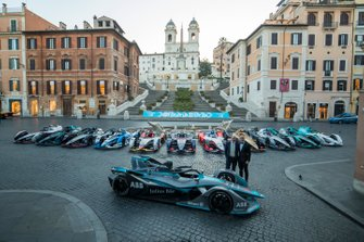 The 11 team cars, the Formula E track car all sit in the Piazza di Spagna before the Rome ePrix