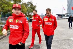 Charles Leclerc, Ferrari, et Sebastian Vettel, Ferrari
