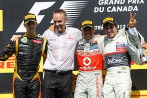 Romain Grosjean, Lotus GP, 2nd position, Martin Whitmarsh, Team Principal, McLaren, Lewis Hamilton, McLaren, 1st position, and Sergio Perez, Sauber F1, 3rd position