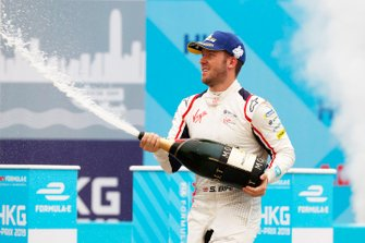 Race winner Sam Bird, Envision Virgin Racing celebrates with a champagne shower on the podium