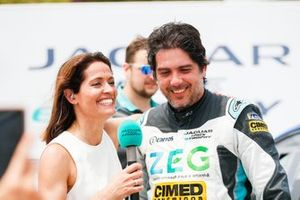 Cacá Bueno, Jaguar Brazil Racing, is interviewed after taking his maiden victory