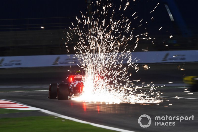 Sparks fly from the rear of Antonio Giovinazzi, Alfa Romeo Racing C38
