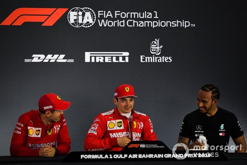 Sebastian Vettel, Ferrari, Charles Leclerc, Ferrari, and Lewis Hamilton, Mercedes AMG F1, in the post Qualifying Press Conference