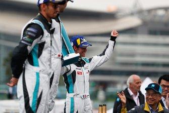 Célia Martin, Viessman Jaguar eTROPHY Team Germany celebrates 3rd position on the podium