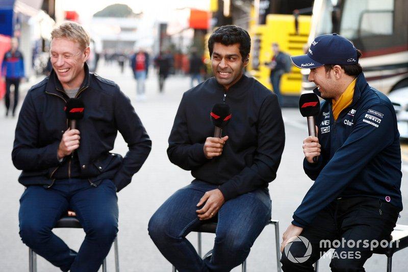 Simon Lazenby, Sky TV, Karun Chandhok, Sky TV and Sergio Perez, SportPesa Racing Point F1 Team