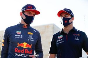 Max Verstappen, Red Bull Racing, with Sergio Perez, Red Bull Racing