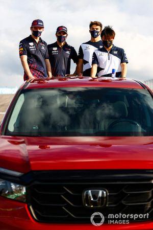 Honda Ridgeline photoshoot, featuring Sergio Perez, Red Bull Racing, Max Verstappen, Red Bull Racing, Yuki Tsunoda, AlphaTauri, and Pierre Gasly, AlphaTauri