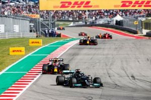 Lewis Hamilton, Mercedes W12, Max Verstappen, Red Bull Racing RB16B, and Sergio Perez, Red Bull Racing RB16B