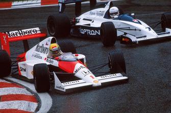 Ayrton Senna, McLaren MP4/5; Martin Brundle, Brabham BT58