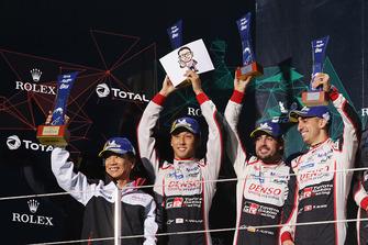 Podium LMP1: winners Mike Conway, Kamui Kobayashi, Jose Maria Lopez, Toyota Gazoo Racing with Shigeki Tomoyama, President Gazoo Racing Company
