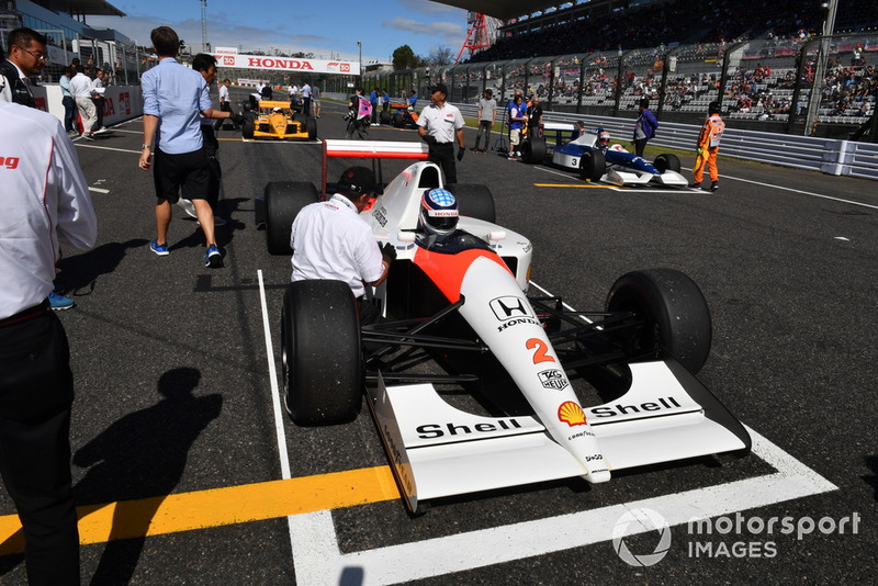 Takuma Sato, McLaren Honda MP4-7A at Legends F1 30th Anniversary Lap Demonstration