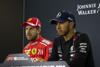 Sebastian Vettel, Ferrari and Lewis Hamilton, Mercedes AMG F1 in Press Conference