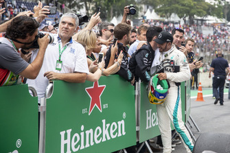 Lewis Hamilton, Mercedes AMG F1 celebrates in Parc Ferme with his mechanics