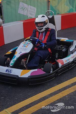 IOC president Thomas Bach testing a kart at the FIA youth olympics karting