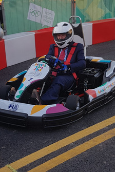 IOC president Thomas Bach testing a kart at the FIA youth olympics karting