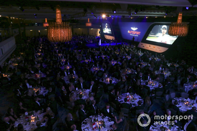 F1 World Champion Lewis Hamilton sends an acceptance speech message for winning both British Competition Driver and International Racing Driver awards