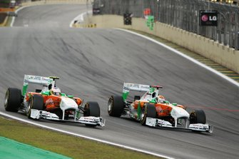 Paul di Resta, Sahara Force India Formula One Team VJM04 and Adrian Sutil, Sahara Force India Formula One Team VJM04