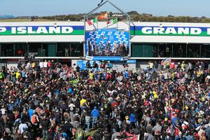Podium: race winner Maverick Viñales, Yamaha Factory Racing, second place Andrea Iannone, Team Suzuki MotoGP, third place Andrea Dovizioso, Ducati Team