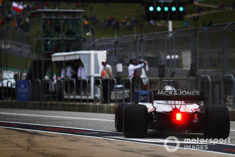 Romain Grosjean, Haas F1 Team VF-18, leaves the pits