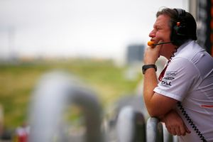 Zak Brown, Executive Director, McLaren Racing, watches from the pits.