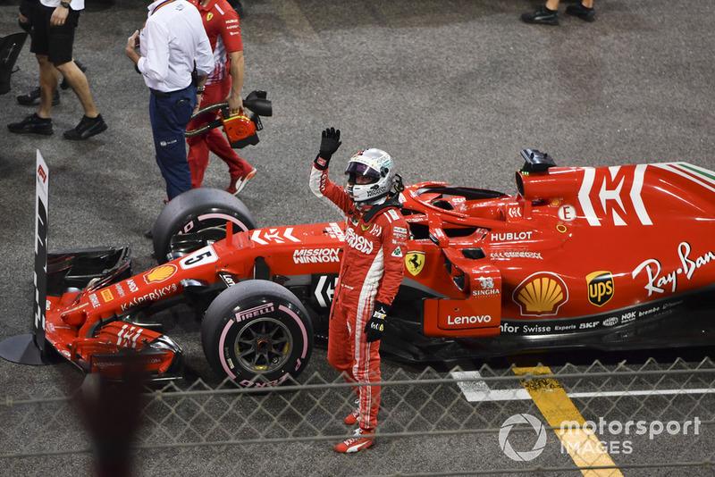 Sebastian Vettel, Ferrari SF71H celebrates in Parc Ferme