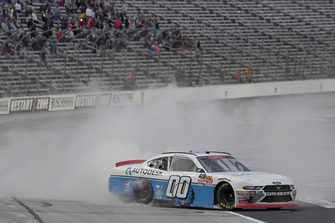 Cole Custer, Stewart-Haas Racing, Ford Mustang Autodesk, does a burnout after winning.