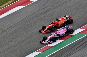 Kimi Raikkonen, Ferrari SF71H and Esteban Ocon, Racing Point Force India VJM11