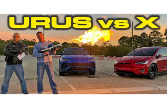Tesla Model x races Lamborghini Urus